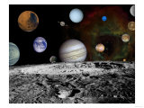 Solar System Montage of Voyager Images Photograph - Outer Space Posters by  Lantern Press