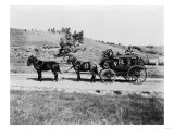 Stagecoach at Yellowstone National Park Photograph - Yellowstone, WY Print by  Lantern Press