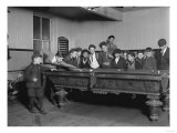 Street Boys Playing Billiards at the Boys Club Photograph - New Haven, CT Print