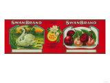 Swan Cherry Label - Oakland, CA Print by  Lantern Press