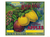 Rose Hill Apple Crate Label - Watsonville, CA Posters by  Lantern Press