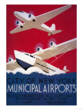 New York City Municipal Airport Vintage Poster - New York, NY Posters by  Lantern Press