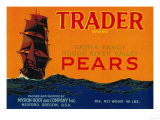Trader Pear Crate Label - Medford, OR Posters