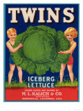 Twins Lettuce Label - Watsonville, CA Print by  Lantern Press
