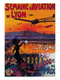 Semaine d' Aviation De Lyon Vintage Poster - Europe Print