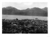 View of Juneau, Alaska and S.S. Burnside in Channel Photograph - Juneau, AK Print by  Lantern Press
