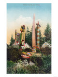 View of Indian Graves and Totempoles - Alaska Print