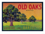 Old Oaks Pear Crate Label - Bryte, CA Print
