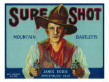 Sure Shot Pear Crate Label - Potter Valley, CA Posters