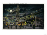 Ocean Park Pier at Night from Dome Hotel - Santa Monica, CA Posters by  Lantern Press