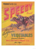 Speedy Vegetable Label - Hanford, CA Posters by  Lantern Press