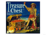 Treasure Chest Orange Label - Mentone, CA Posters