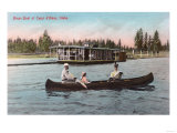 View of a House Boat on the Lake - Coeur d'Alene, ID Posters by  Lantern Press