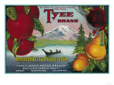 Tyee Pear Crate Label - WA, OR, and CA Posters