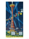 Space Needle Worlds Fair Poster - Seattle, WA Poster von  Lantern Press