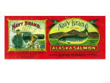 Navy Salmon Can Label - Quadra Bay, AK Posters by  Lantern Press
