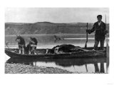 Trapper in Canoe with Hides and Dogs Alaska Photograph - Alaska Poster by  Lantern Press