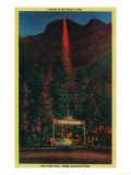 The Fire Fall from Glacier Point, Camp Curry in Foreground - Yosemite, CA Poster by  Lantern Press