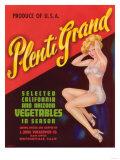 Plenti Grand Vegetable Label - Watsonville, CA Print by  Lantern Press