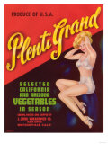 Plenti Grand Vegetable Label - Watsonville, CA Print