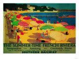 Summertime French Riviera Vintage Poster - Europe Giclee-tryk i høj kvalitet af  Lantern Press