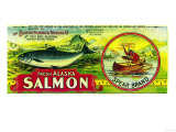 Spear Salmon Can Label - Yes Bay, AK Posters