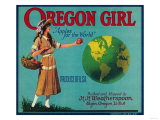 Oregon Girl Apple Crate Label - Elgin, OR Posters