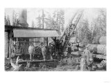 View of Lumberjacks at a Mill - McCloud, CA Poster by  Lantern Press