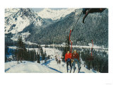 Skiers on the Chairlift - Snoqualmie Pass, WA Poster by  Lantern Press