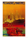 Messageries Maritimes Vintage Poster - Europe Poster by  Lantern Press