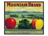 Mountain Apple Crate Label - Hood River, OR Poster