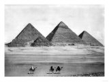 Pyramids and Three Riders on Camels Photograph - Egypt Posters