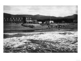 Seaside, Oregon Beach and Hotel Moore Photograph - Seaside, OR Posters by  Lantern Press