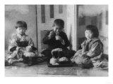 Three Children Eating in Japan Photograph - Japan Print