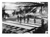 Men Laying out Plates in Steel Mill Photograph Print