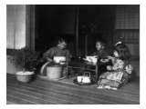 Three Japanese Children Having a Tea Party Photograph - Japan Pósters por  Lantern Press