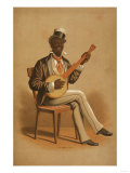 """Minstrel Plays """"Swell Negro Banjo Player"""" Poster Posters by  Lantern Press"""