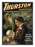 Lantern Press - Thurston the Great Magician Holding Skull Magic Poster - Poster