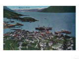 Town View of Wrangell, Alaska - Wrangell, AK Poster by  Lantern Press