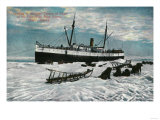 Nome, Alaska View of Steamer on Ice Edge 5 Miles from Town - Nome, AK Print