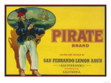 Pirate Lemon Label - San Fernando, CA Print by  Lantern Press