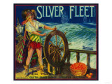 Silver Fleet Orange Label - Mentone, CA Poster by  Lantern Press
