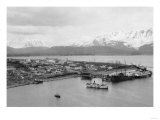 Seward, Alaska View of Town and Ships in Harbor Photograph - Seward, AK Print by  Lantern Press