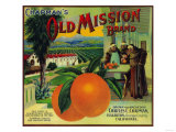 Old Mission Orange Label - Fullerton, CA Print by  Lantern Press