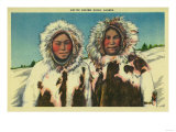 Native Eskimo Girls in Alaska - Alaska State Poster by  Lantern Press