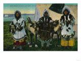 Three Eskimo Beauties and Sled Reindeer - Alaska State Posters
