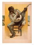 Minstrel African American Playing Banjo Poster Poster by  Lantern Press