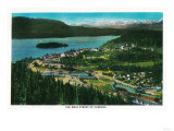 Town View of Cordova, Alaska - Cordova, AK Poster by  Lantern Press