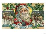 A Merry Christmas Santa and Reindeer Scene Prints by  Lantern Press