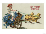 An Easter Greeting - Kid in Toga on Chariot Pulled by Chicks Art